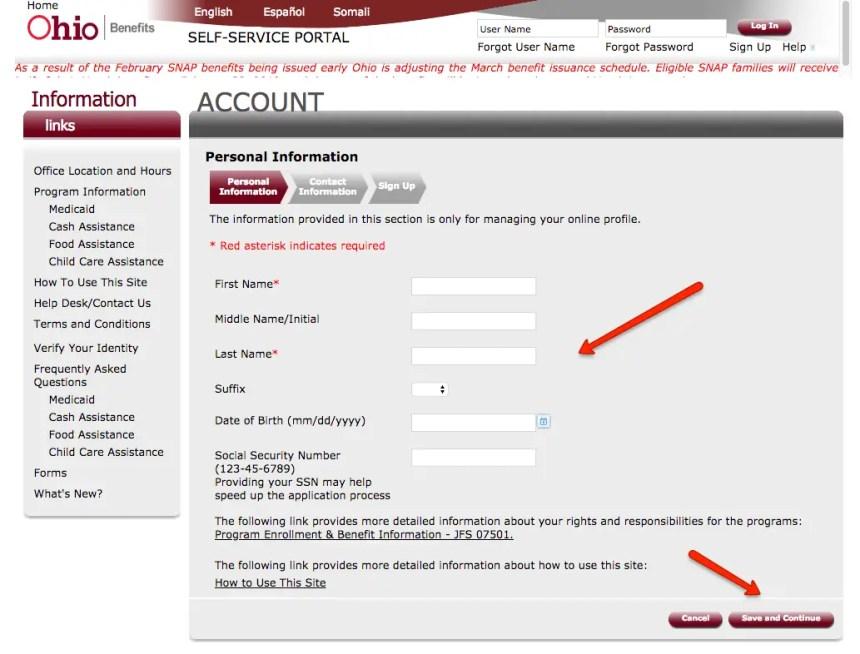 """ssp.benefits.ohio.gov create account 1"""