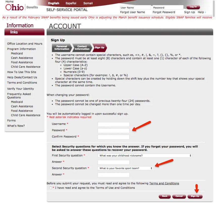 """ssp.benefits.ohio.gov create account 3"""