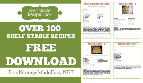 Shelf Stable recipe book - Over 100 Recipes