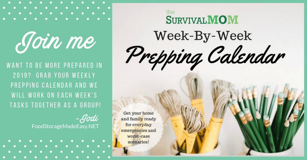emergency preparedness weekly prepping calendar