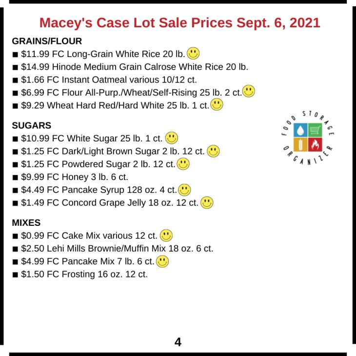 Macey's Case Lot Sale Price List Fall 2021