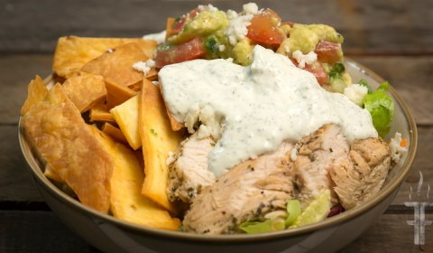Chicken and Avocado Salad with Jalapeno Ranch Dressing