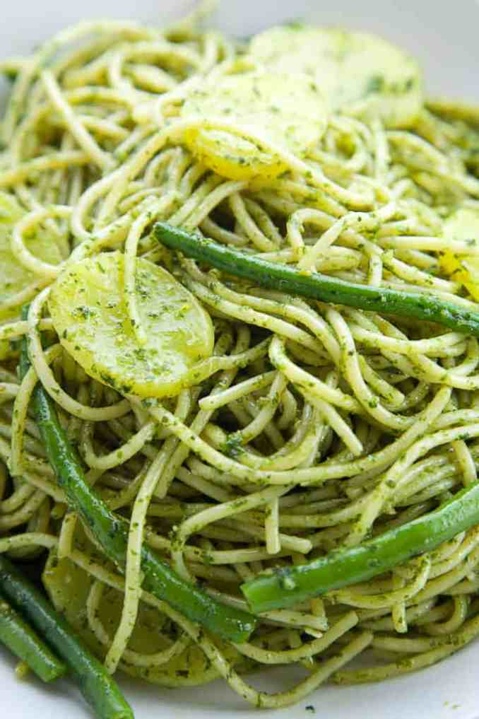 Pasta with Pesto, Green Beans, and Potatoes | Foodtasia