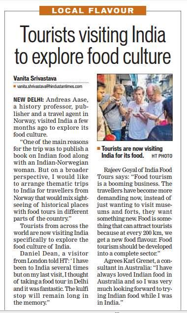 Food Tour In Delhi on Hindustan Times.