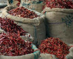 Bags of red chilies