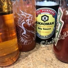Sauces-- Soy Sauce, Chilli/Saricha,vinegar, Tomato Ketchup