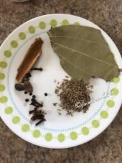 Dry Whole Garam Masala/Spices--Bay Leaf, Cinnamon stick, 4-5 Cloves,4-5 Black Pepper, 2 Black Cardamom,Cumin Seeds