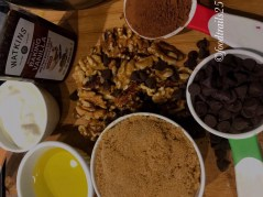 Ingredients for Bread(Brown Sugar, Oil, Chocolate Chips, Cocoa Powder, Walnuts, Yogurt,Vanilla Essence)