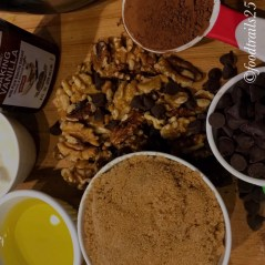 Ingredients for Bread(Brown Sugar, Oil, Chocolate Chips, Cocoa Powder, Walnuts, Yogurt,Vanilla Essence)
