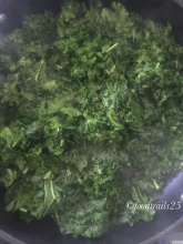 Finely chop Kale leaves, trim from the stem and keep in a pan with a cup of water to cook