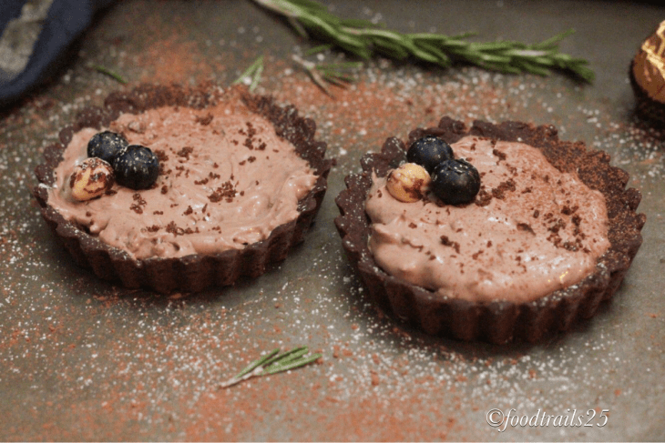 Chocolate Tarts with Ferrero Rocher Mousse
