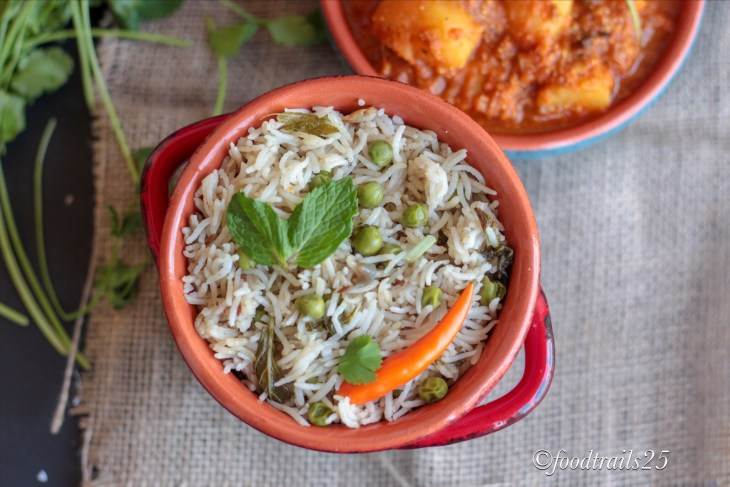 Fresh Mint Leaves and Peas Rice Pulao