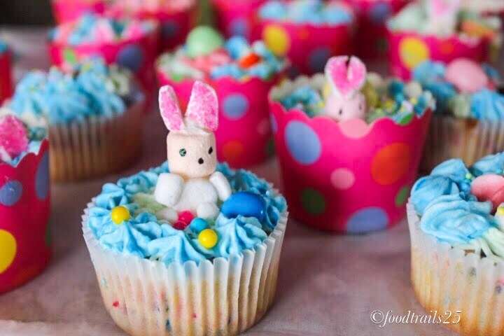 Vanilla Bean Funfetti Cupcakes for Easter