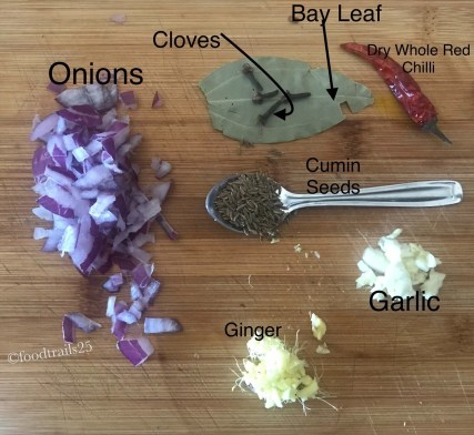 Ingredients for tempering dal