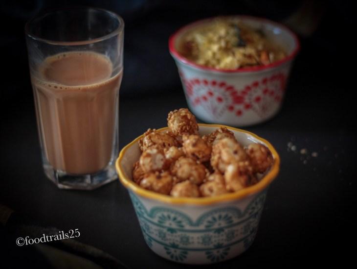 Gur Makhana with Tea