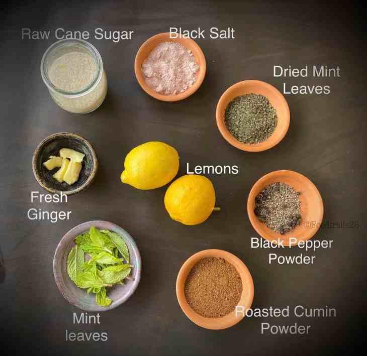 Ingredients for Masala Lemonade