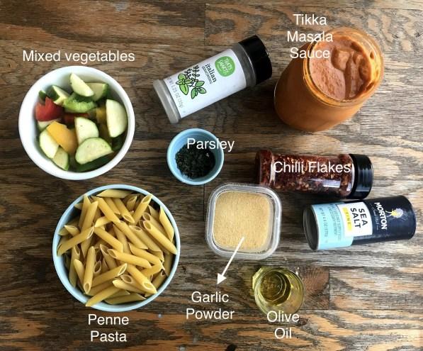 Ingredients for Tikka Masala Pasta