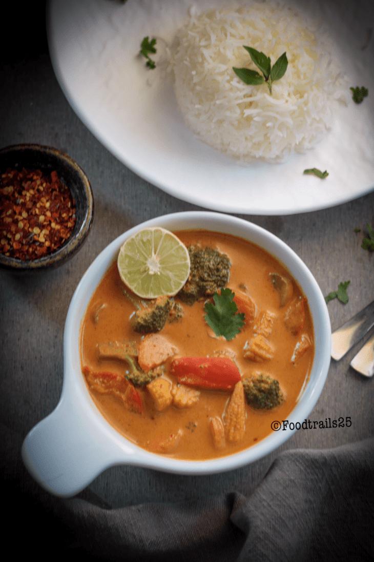VEgan Thai Red Curry-Pinning image