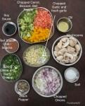 Ingredients for garlic mushroom fried rice