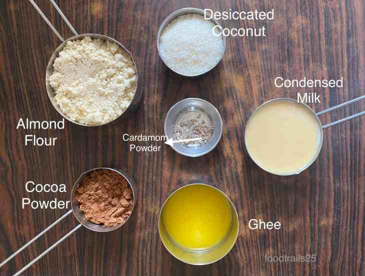 Ingredients to make Chocolate Almond Coconut Ladoos
