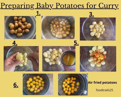 Preparing Baby Potatoes for Curry | Steps to make Kashmiri Dum Aloo
