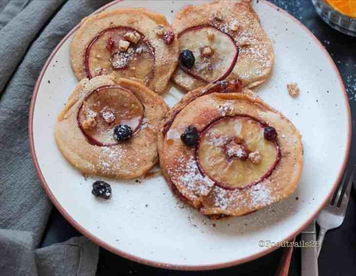 Whole Wheat Apple Pancakes(Eggless)
