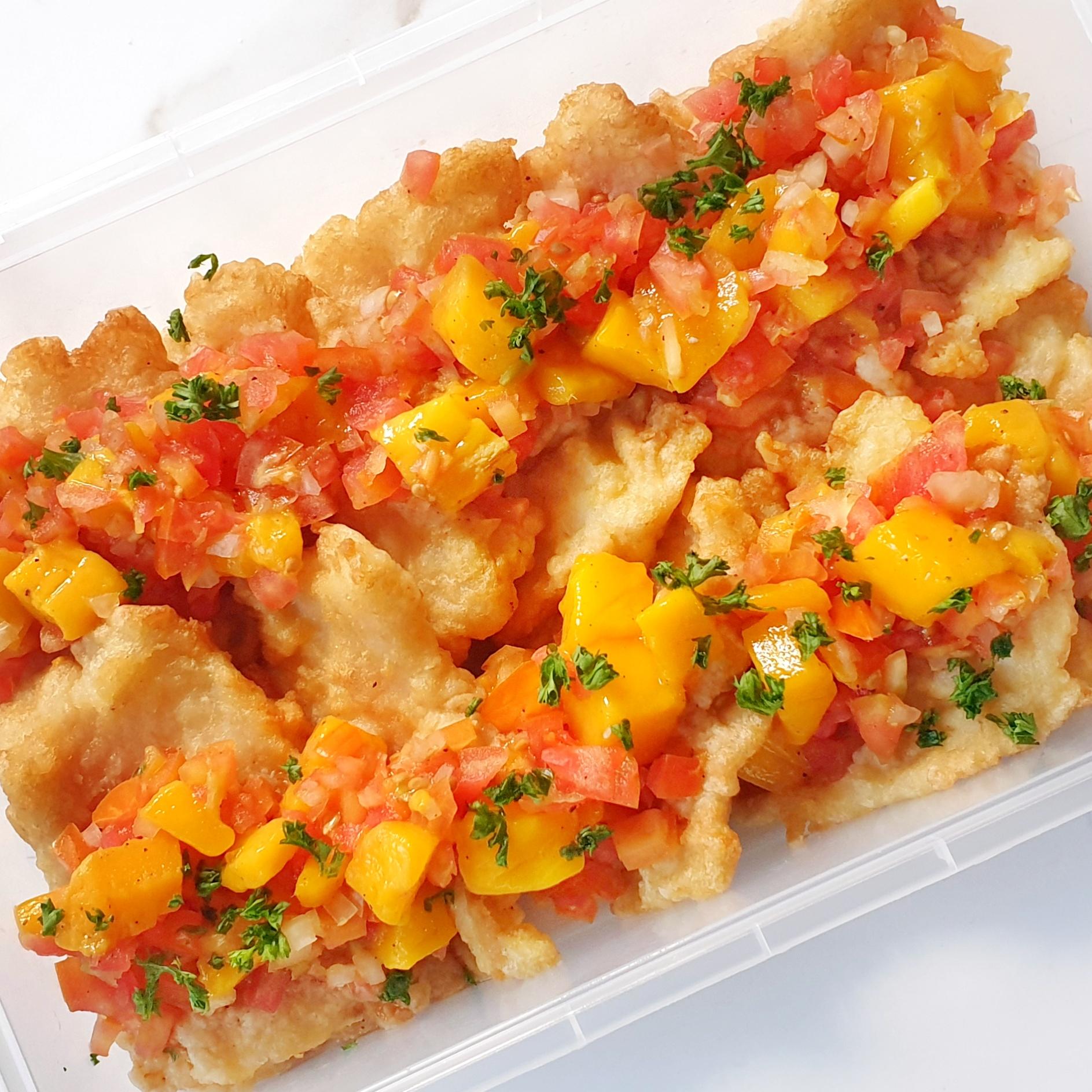 Breaded Fish Fillet w/ mango salsa