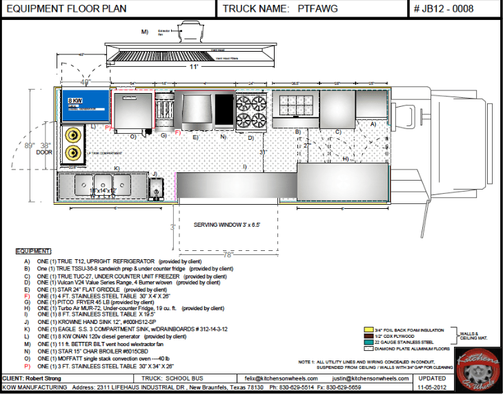 Cad equipment floor plan food trucks for sale used for Food truck layout plans