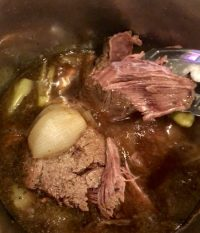 When cook time completes, allow pressure cooker to naturally release pressure (NPR) for 15 minutes, then quickly release remaining pressure (QPR).  Remove lid. YUM! Shred beef usingshredder toolor tongs.