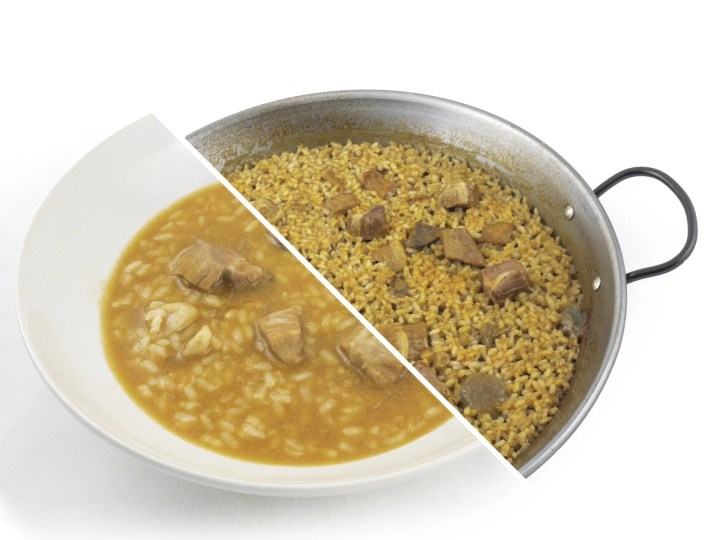 Recipe based on rice, Iberian pork secret and boletus. Sous Vide Fine Food