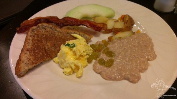 Toast, bacon, fruits, and oatmeal