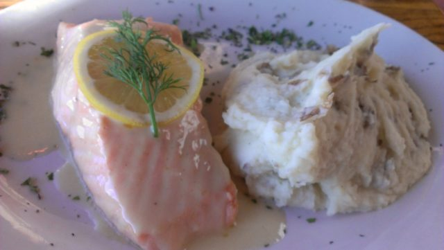 Salmon with a side of mashed potato