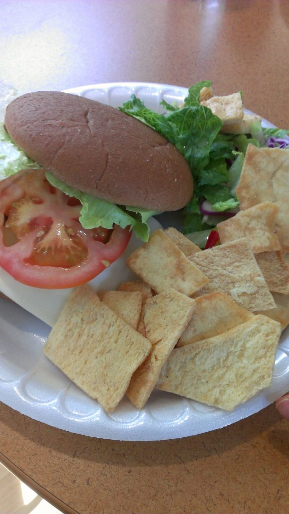 Stacy's Original Pita Chips and turkey burger