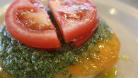 Pesto, tomato, and English cheese crumpet