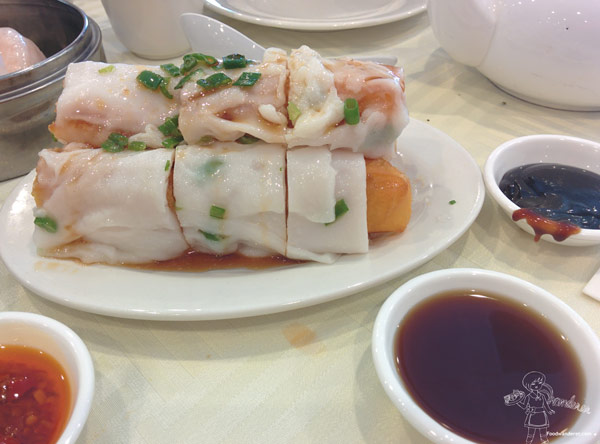 Ja leung--a fried cruller (pastry) wrapped in rice noodle