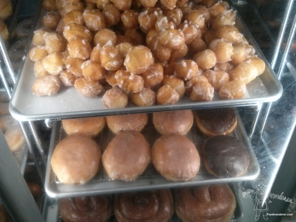 Seaside Bakery Donut holes, and jelly filled donuts, and spiral donuts.