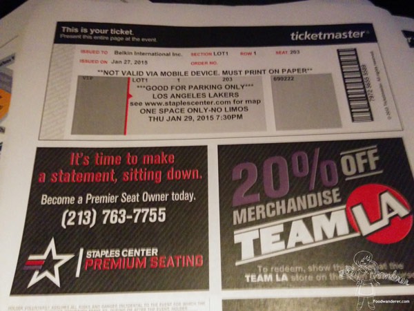 Ticket Master Los Angeles Lakers