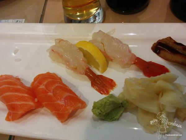 Salmon, sweet shrimp, and unagi