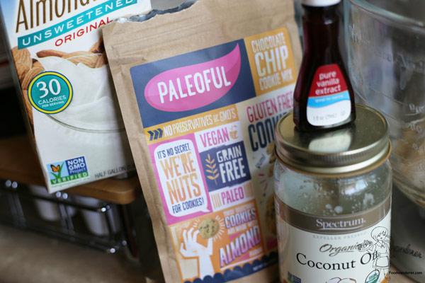 PELEOFUL Chocolate Chip Cookie mix, Almond Breeze, Pure Vanilla extract, and Spectrum Organic Coconut Oil
