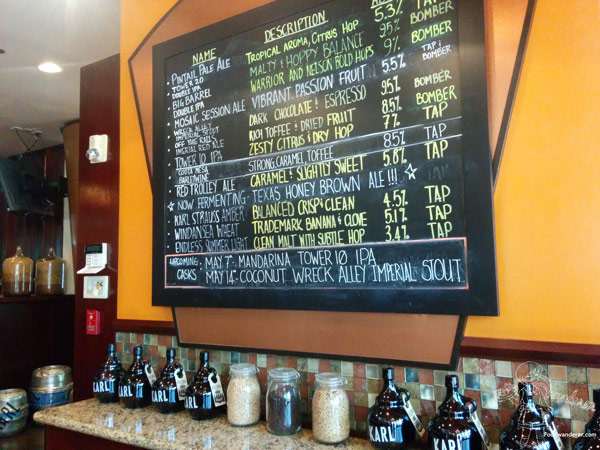 Karl Strauss Beer selections on chalkboard