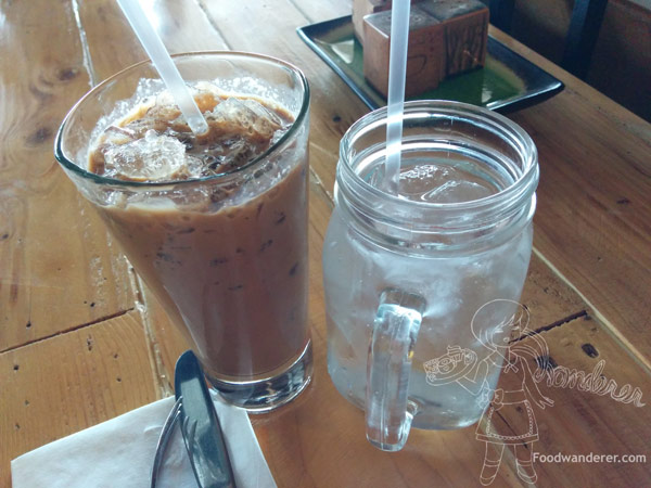 Iced Vietnamese Coffee & Iced water in mason jar