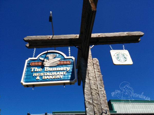 The Bunnery Restaurant & Bakery and Starbucks sign