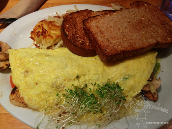 Guacamole Omelette $9.95 fresh guacamole, sautéed mushrooms, diced tomatoes, sprouts & swiss cheese