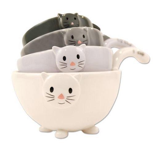 1 X Ceramic Cat Measuring Cups/ Baking Bowls