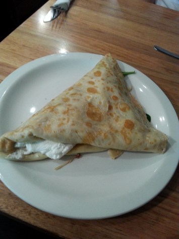 AIX Cafe Creperie Salon. Goats cheese, red pepper, thyme and spinach crepe.