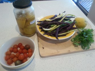 Home grown ingredients for bean and tomato salad