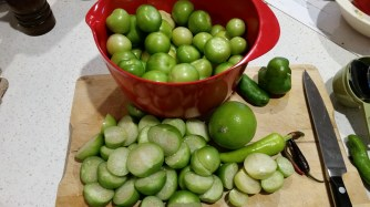 Tomatillos, lime, chillis, capsicums
