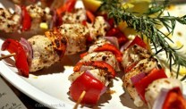 Tandoori chicken skewers - very peppery but great with Gewurtztraminer