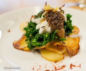 Crispy fingerling potatoes, kale salad, chevre, morel mushroom, preserved lemon and a touch of saffron. Wow!