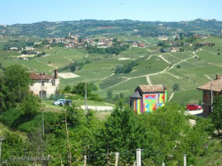 The village of Barolo off in the distance, coming up on the Barolo Chapel